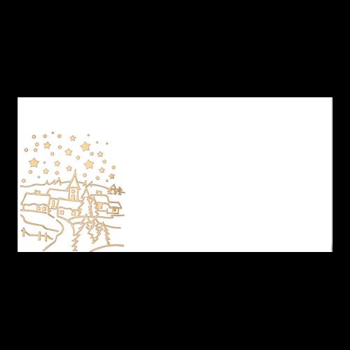 Kerst Envelop Goudfolie Dorp 11×22 cm