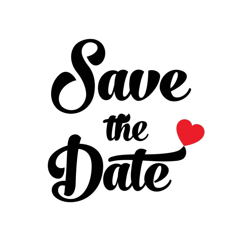 Save the date zwart met rood hartje