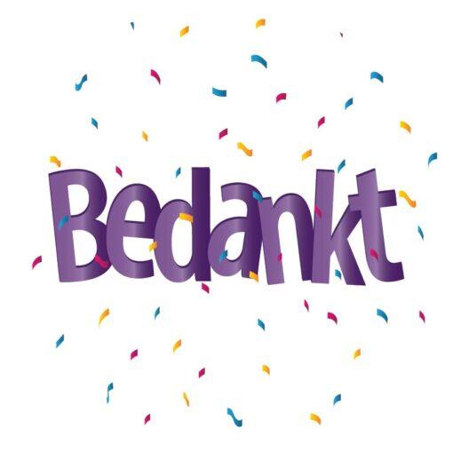 Sluitzegel Bedankt paarse letters