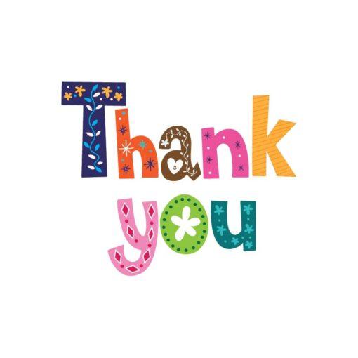 Sluitzegel Thank you in sierlijke gekleurde letters