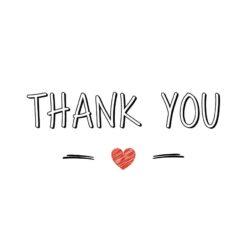 Sluitzegel Thank you in zwart witte letters en rood hartje