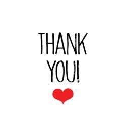 Sluitzegel Thank you in zwarte letters en rood hartje