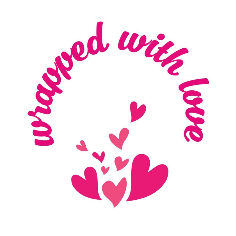 Sluitzegel Wrapped with love hartjes roze