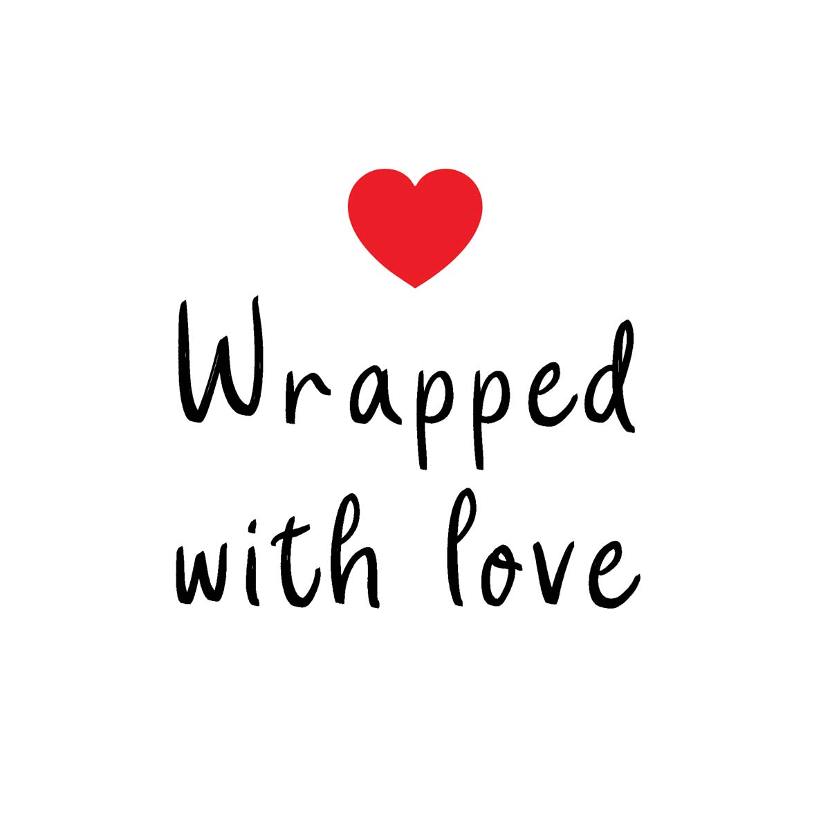 Sluitzegel Wrapped with love zwart met rood hartje